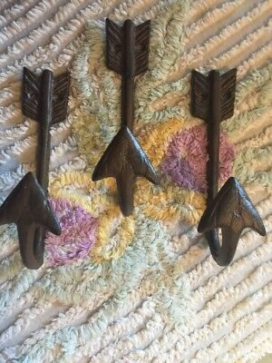 3 Arrow hook hanger Cast Iron Arrow Hook Shabby Farmhouse Man Cave Pool Towel