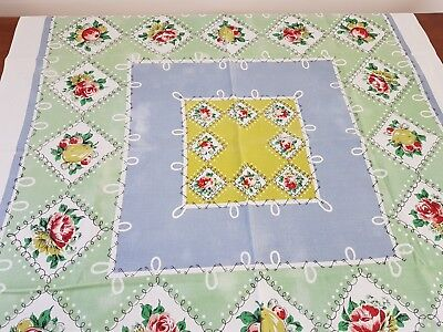 Vintage 60s Pastel BLUE GREEN FLORAL CHECK Cotton Blend SUPPER TABLECLOTH