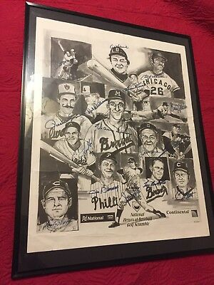 Early Wynn SIGNED X16 1993 HEROES OF BASEBALL POSTER,Houk,Spahn,Al Kaline,1/120