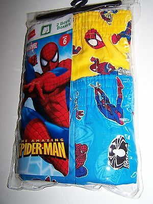 Hanes The Amazing Spiderman  Boys Boxers Size 6 New Nip 2 Pack