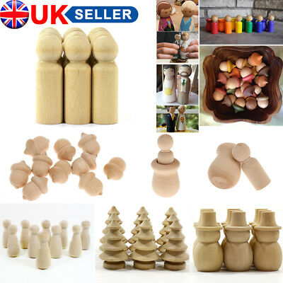 5pcs Blank Wooden People Peg Dolls Figures Wedding Cake Toppers DIY Craft Toys