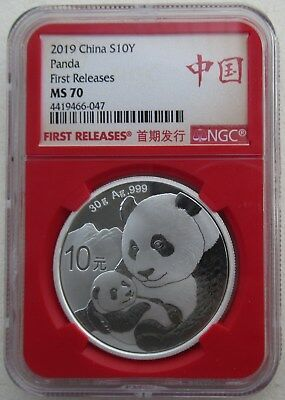 NGC MS70 First Releases China 2019 Panda Silver Coin 30g 10 Yuan Red Holder
