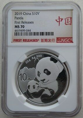 NGC MS70 First Releases China 2019 Panda Silver Coin 30g 10 Yuan