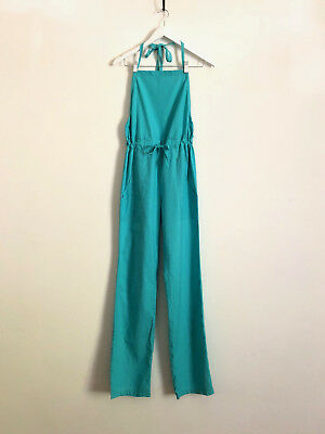 Vintage 1970s halter neck turquoise cotton jumpsuit with drawcord waist