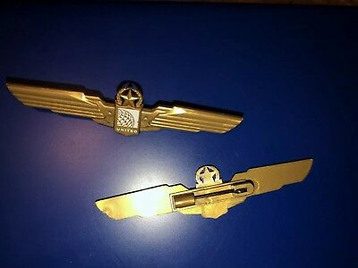 "United Airlines Plastic Flight Attendant Wings 2 Pairs Pins  3 1/2"" Collectable"