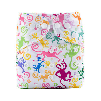 New Reusable Modern Cloth Nappy (MCN) + FREE insert – Colourful Cute Monkeys