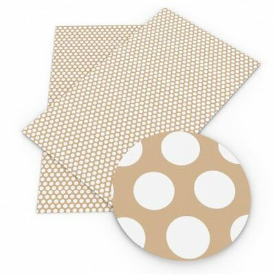 HAZELNUT DOTS Faux Leather Sheets, Printed Faux Leather
