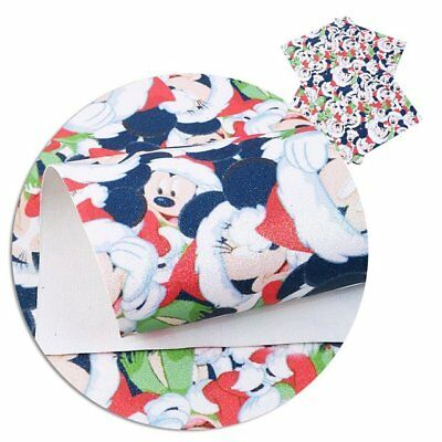 Merry Christmas Mickey Mouse Glitter Sheets, Printed Glitter Fabric