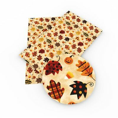 Fall Leaves Synthetic Leather Sheets, Printed Faux Leather