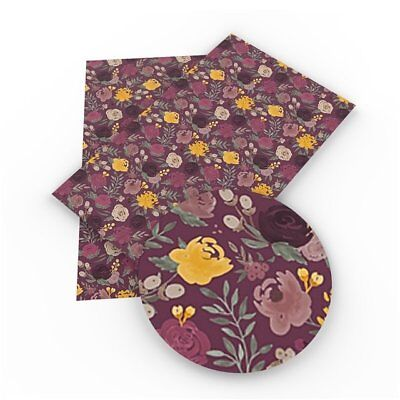 Dark Plum and Yellow Flowers Faux Leather Sheets, Printed Faux Leather