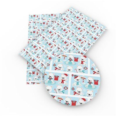 North Pole Bears, Christmas, Faux Leather Sheets, Printed Faux Leather