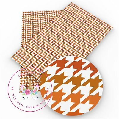 Houndstooth Cognac and White, Faux Leather Sheets, Printed Faux Leather