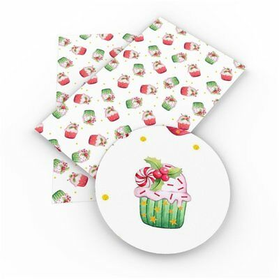 Cupcakes Christmas Faux Leather Sheets, Printed Faux Leather