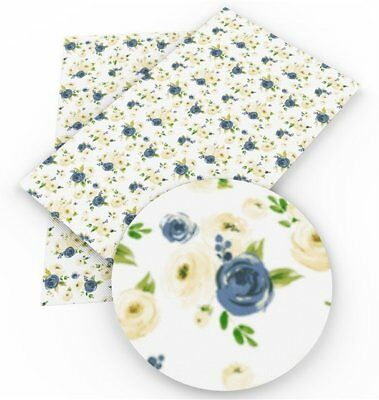 BLUE & PEACH Floral Faux Leather Sheets, Printed Faux Leather