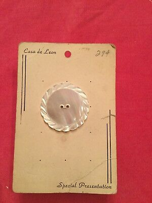 Vintage Large Craved Mop Iridescent Mother Of Pearl 2 1/2 On Card