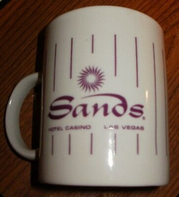 Las Vegas Nevada Sands Hotel Casino White Coffee Mug W Purple Logo And Stripes
