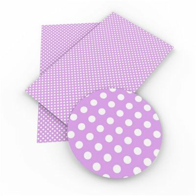 Polka Dot Purple Faux Leather Sheets, Printed Faux Leather