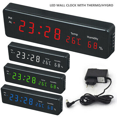 Electronic LED Digital Home Wall Clock Temperature Humidity Display with Plug