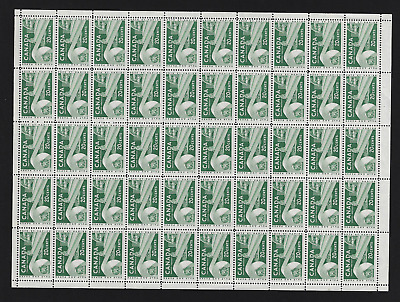 Canada Stamps — Full Pane of 50 — 1956, Paper Industry #362 — MNH