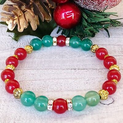 Charm Beads Bracelet• Red & Green Jade + Golden Hematite + Christmas Bracelet•