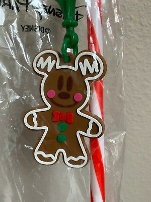Disneyland -  Mickey Mouse Gingerbread Man Straw 2018 Holiday Edition