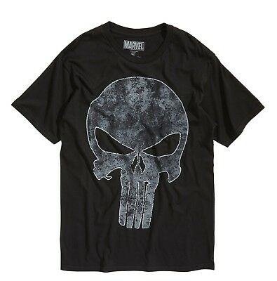 Marvel Comics The Punisher Skull Logo Black T-Shirt Extra Large New with Tags