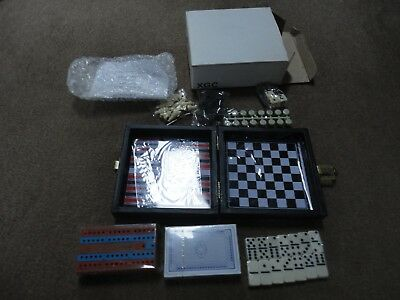 New Travel Size Game Compendium-Chess/dominoes/playing Cards/backgammon/draughts