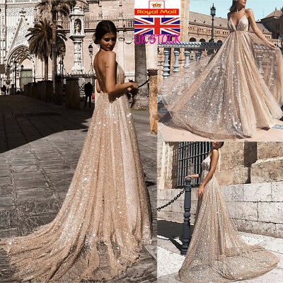 UK Women V Neck Backless Maxi Dress Ladies Party Wedding Evening Prom Long Dress