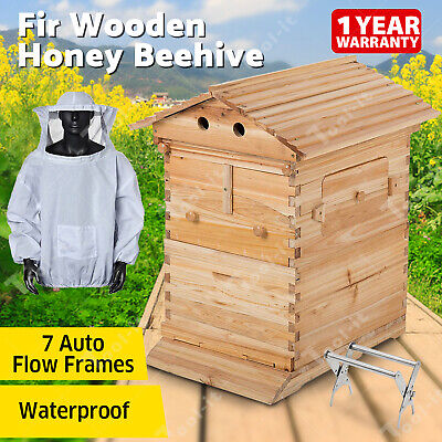 Wooden Beekeeping Beehive Brood House Box +7 PCS Auto Flow Bee Comb Hive Frames