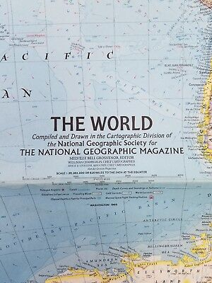 Vintage The World huge Map National Geographic February 1965 Mid Century