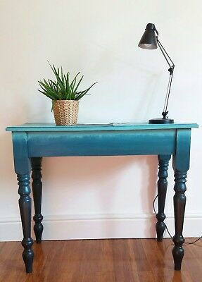 Vintage upcycled OMBRÈ painted pine console,hall,dressing table,desk black teal