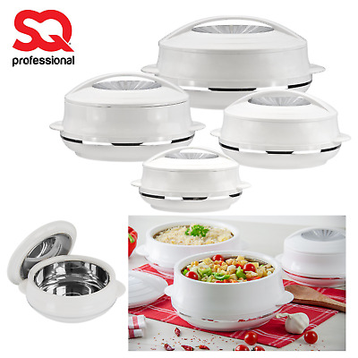 4pc Insulated Hot Pot Food Serving Warmer Casserole Pan Dish Bowl Set White OMP