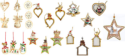 Hand Crafted Real Wooden Christmas Tree Hanging String Decorations Ornaments