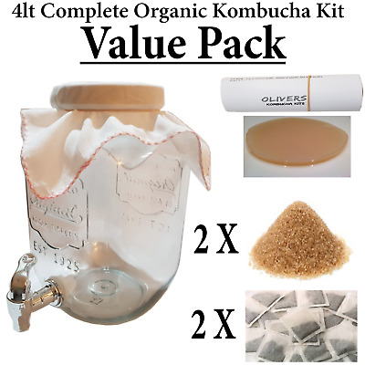 4L Value Kombucha Brewing Kit Organic Scoby And Starter Tea & Easy Instructions
