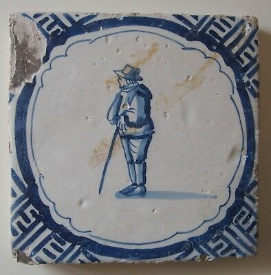 "17th Century DUTCH DELFT TILE ""MAN LEANING ON A STICK"" (c.1625)"