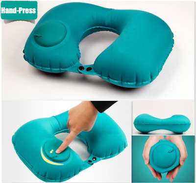 Up to 2! Hand-Press Portable Inflatable U Shaped Air Travel Neck Pillow HeadRest