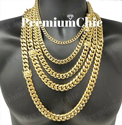 Mens Miami Cuban Link Chain HEAVY 18k Gold Plated Stainless Steel