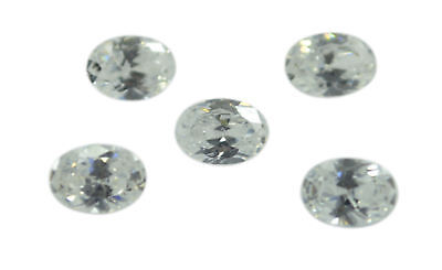 enticing White Cubic Zirconia Faceted Oval 6x8 mm 1-PC Gemstones US