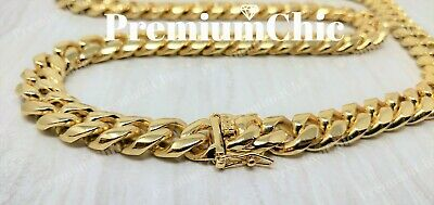 Mens Miami Cuban Link Chain HEAVY 14k 18K Gold Plated Stainless Steel