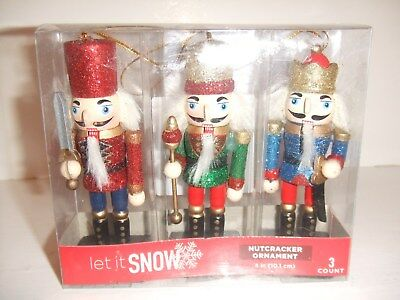 Nutcracker Ornaments Wooden Glittery Set of Three with Hanging String