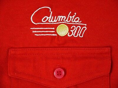 VINTAGE COLUMBIA 300 bowling ball brand polo shirt tournament pro red mens S