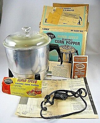 Mirro Aluminum Clear Glass Lid Super Speed Pop Corn Popper 3 Qt M-9221-40 W/ Box