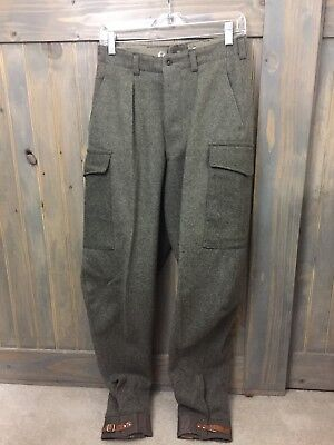 Vintage VTG Swedish MILITARY Wool Cargo PANTS  Leather Buckle Cuff 27 x 32