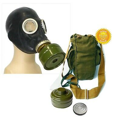 Black Size-1 Small Soviet Russian Military Gas mask GP-5 FULL SET
