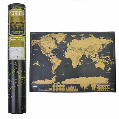 Scratch Off Map World Deluxe Large Personalized Travel Poster Travel Atlas Gift