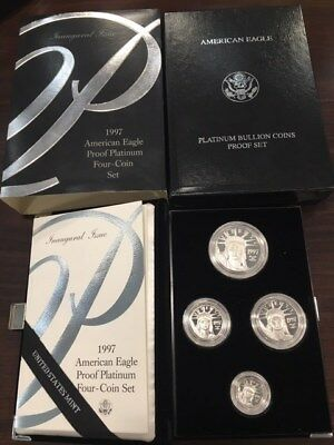 1997-W American Eagle Platinum 4 Coin Proof Set 1.85 Oz - Free Shipping!