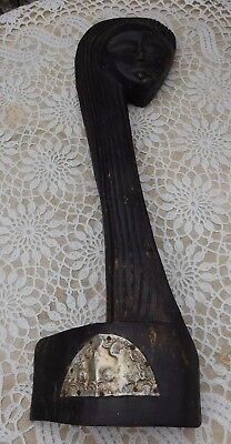 """Vintage African Figurine Hand Carved Wood Tribal Ethnic Head Statue Plaque 18"""""""