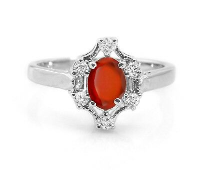 Hessonite Garnet 925 Sterling Silver Ring Orange Natural Gemstone Size 4 - 11