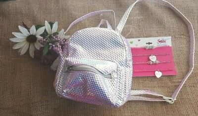 🌱 JUSTICE - Mermaid Scale MINI Backpack w/Bonus One Necklace Lot of 2  (New)