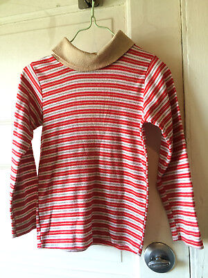 Vintage 6x Healthex Children's Shirt 60's 70's Striped Red White Turtleneck